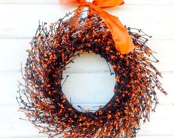 Halloween Wreath-ORANGE & BLACK HALLOWEEN Door Wreath-Fall Wreath-Autumn Home Decor-Halloween Door Wreath- Scented Wreaths-Holiday Decor
