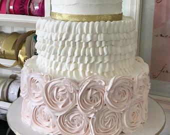 Three tier faux wedding cake