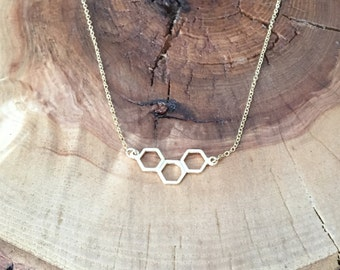 Honeycomb gold necklace; layering necklace, gold honeycomb pendant,