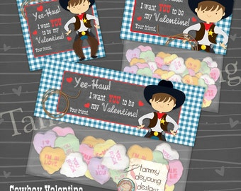 Valentines for Kids, Cowboy Valentines Treat Bag Toppers & Tag, Printable Valentines for Boys,