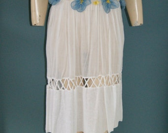 Vintage 20's Sheer White Lawn Flapper Gatsby Dress - Chiffon Flower Belt Size M/L