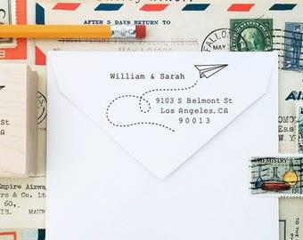 NEW! Personalized Address Stamp, Paper Airplane Stamp, Custom Stamp, Typewriter, Air Mail, Wedding Stamp, DIY Printing, Mailing Rubber Stamp