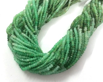 """AAA green chrysoprase faceted rondelle loose gemstone beads 13.5""""inches wholesale price supplier"""