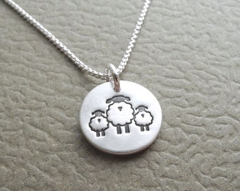 Tiny Mother and Twin Sheep Necklace, Mom and Two Kids, Ewe and Two Lambs, Fine Silver, Sterling Silver Chain, Made To Order