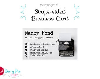 Writer business card etsy vintage typewriter on white business card premade design single or double sided card reheart Choice Image