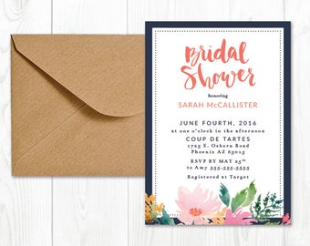 Bridal Shower Invitation Printable | Hand Lettered Detail | Watercolor Flowers | Bridal Shower Invite