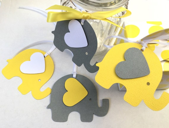 Yellow Gray Elephant Baby Shower Gift Tags For Gifts First