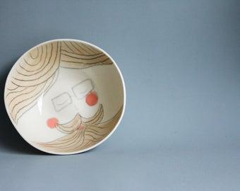 hipster bowl, man cave gift, mens gift, funny design gift for men, man with beard illustration, ceramic breakfast bowl and plate set