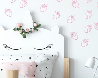 Strawberry Wall Decals for Girls Room, Fruit Wall Decals, Strawberry Wall Decor