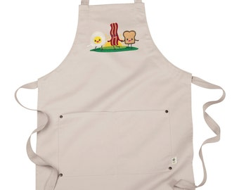 Bacon and Eggs Apron, Breakfast Buddies Embroidered 8 oz Organic Cotton, Recycled Polyester Eco Apron