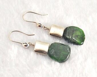 CHROME DIOPSIDE earrings | Green earrings | Chrome Diopside gemstone earrings | Deep Green Silver earrings | Chrome Diopside jewelry