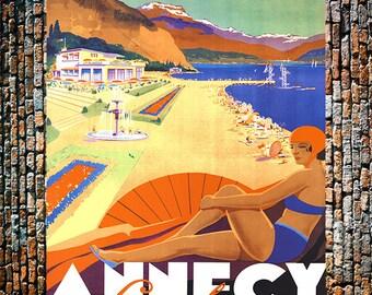 Annecy Beach & Coastal Vintage Art, Travel Ad, Giclee Art Print, fine Art Reproduction
