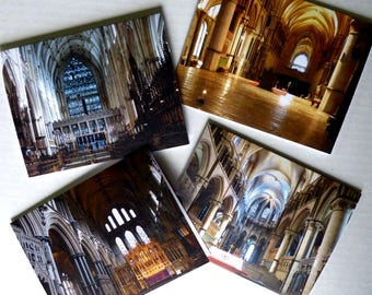 Cathedrals, England, Anglophile, Note Cards, Photo Greeting Cards, Stationery, Premium Quality, Set of 4 With Envelopes