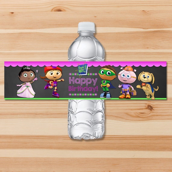 Super Why Birthday Drink Label - Pink Chalkboard - Girl Super Why Water Bottle Label - Super Why Birthday Girl Party - Super Why Printables