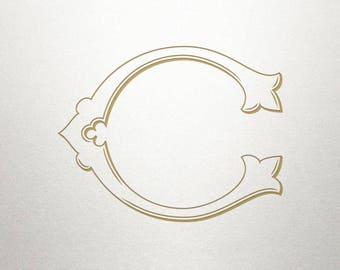 Single Letter Monogram - Initial C - Single Letter - Vintage