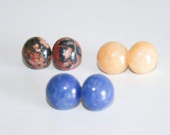 Three Pairs of Round Stone Studs