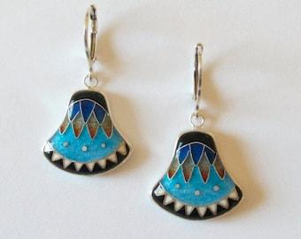 Papyrus Earrings - Cloisonne enamel earrings - Egyptian-inspired - Papyrus - colorful earrings - enamel - earrings - made to order