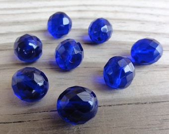 Beads Cobalt Blue Faceted Firepolished Czech Glass 12mm Round - Qty 8
