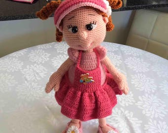 Crocheted Doll with Ringlets, Pinafore, Visor and Thongs