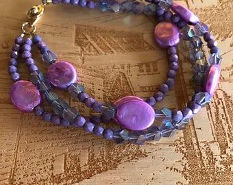 Purple Triple-Strand Beaded Bracelet