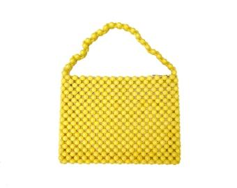 Yellow Beaded Handbag