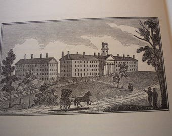 Amherst Massachusetts Town Engravings 1840 reprinted 1964 - Select Cities and Towns - New England Antiquities Cities wood cut framable