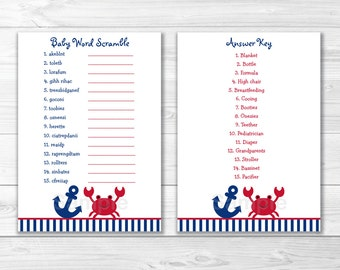 Crab Baby Shower Word Scramble Game / Crab Baby Shower / Baby Boy Shower INSTANT DOWNLOAD A296