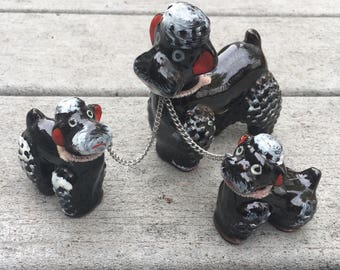 Vintage Black Poodle with Two Puppies on Chain Ceramic Statues Made in Japan
