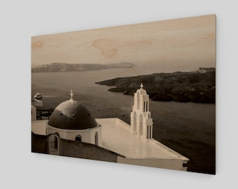 Domed Church Santorini Wood Print, 1:50 Limited Edition / black and white / photography / photo / home decor / decoration /. wall art