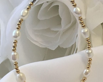 Genuine White Freshwater Cultured Pearl 14k Yellow Gold Medical ID Alert Replacement Bracelet!  Free Shipping! (MA044)
