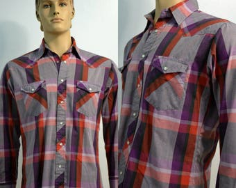 Vintage Wrangler Pearl Snap Western Shirt / Men's Plaid Button Down Shirt / Medium M