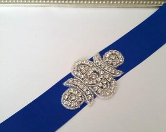 Rhinestone nupcial cinturón, azul nupcial, novia marco, marco de boda