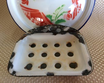 Antique French style primitive soap dish enamel bathroom sink bath soap rest tray