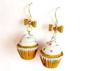 Confetti Cupcake Earrings, Bakeshop Collection, Pinup Earrings, Kawaii Rainbow Cakes Earrings, Birthday Cake, Rockabilly Jewelry