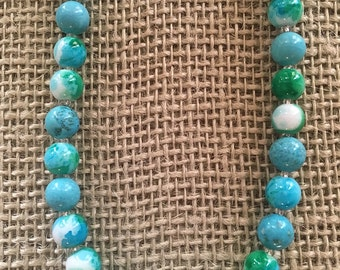 Turquoise Beaded Necklace Set Turquoise Green White Beaded Necklace Magnesite Glass Beaded Necklace Variegated Green White Glass Beaded Set