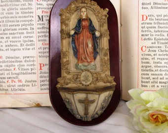 Italian Vintage Holy Water Font Resin on Wood Virgin Mary Madonna Wall Hanging