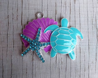 Seashell starfish and turtle purple and turquoise rhinestone pendant for necklace bubblegum necklace girls jewelry chunky gumball necklace