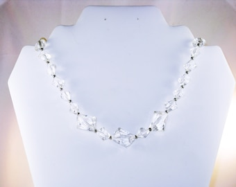 Vintage Trifari Clear Lucite Beaded Choker Necklace (N-1-4)