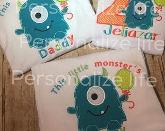 Monster Birthday Family Set/Monster Birthday outfit/Monster Birthday Set/ Little Monster Birthday Shirt/Monster Birthday