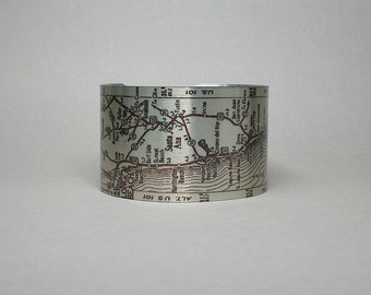 Los Angeles to San Diego California Pacific Highway Map Cuff Bracelet for Men or Women