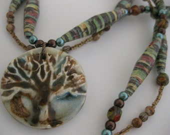 OOAK Hippie Earth Goddess Tree of Life Necklace w/Ceramic Tree Pendant, Hand-Rolled Paper Beads, Crayon Glass, Stone Beads & Glass Pearls