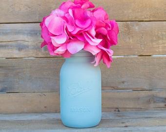 Blue Pastel Hand Painted Mason Jar