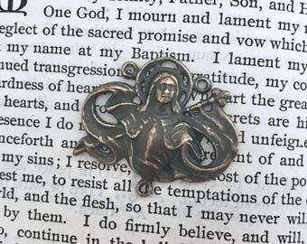 St. Joan of Arc Rosary Center - Bronze or Sterling Silver - Vintage Rosary Center Replica - Made in the USA  (R53-437)