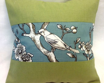 Decorative Pillow Cover in Green with Bird