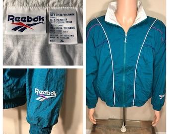 Retro // Reebok windbreaker // Vintage reebok track jacket // adult size large medium // Green White stripes // retro party costume 90s rad