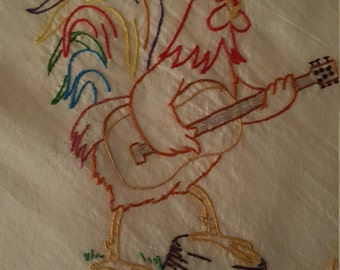 Flour Sack Dishtowel Rooster Playing Guitar