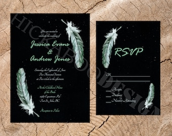 Green Feathers and Stardust Wedding Invite & RSVP Set