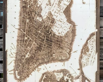 Historical City of New York 1833 - Wood Burned Map