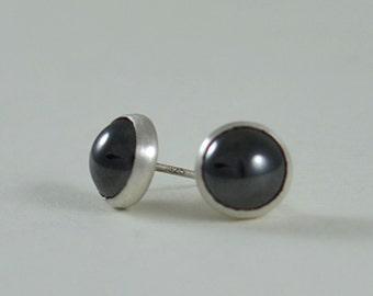 Black Stud Earrings for Men or Women -  Large 8mm Black Gemstone Sterling Silver Stud Earrings  by Gioielli Designs
