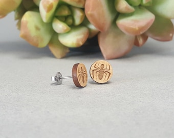 Spiderman Post Earrings - Laser Engraved Wood Earrings - Hypoallergenic Titanium Post Earring Pair - Peter Parker